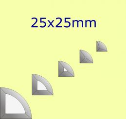 Facette Viertelkreis / 25x25mm